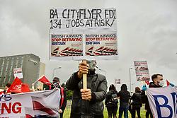 Pictured:<br /> Campaigners campaign at Edinburgh airport against job cuts by British Airways. pic: Terry Murden @edinburghelitemedia