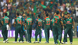 September 27, 2018 - Abu Dhabi, United Arab Emirates - Bangladsh cricketers celebrate during the Asia Cup 2018 cricket match between Bangladesh and Pakistan at the Sheikh Zayed Stadium,Abu Dhabi, United Arab Emirates on September 26, 2018  (Credit Image: © Tharaka Basnayaka/NurPhoto/ZUMA Press)