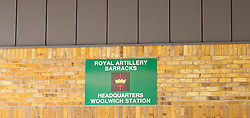 In the Image - Royal Artillery Barracks, Woolwich, UK. .Flowers and tributes left at Woolwich Barracks for Drummer Lee Rigby who was murdered near the barracks, Woolwich Barracks, Woolwich, London, Great Britain. On the afternoon of 22 May 2013, Lee Rigby, a British Army soldier in the Royal Regiment of Fusiliers, was killed by two attackers near the Royal Artillery Barracks in Woolwich in southeast London, UK, 25th May 2013. Photo by Elliott Franks / i-Images.