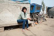Lima, Peru. Jicamarca. Lima, Peru. Jicamarca. Teresa Sedano Unocc in front of her home