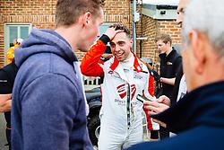 Dino Zamparelli celebrates after securing Pole Position | GT Marques | #88 Porsche 911 GT3 Cup | Porsche Carrera Cup GB | Qualifying - Mandatory byline: Rogan Thomson/JMP - 18/06/2016 - MOTORSPORT - Croft Circuit - Dalton-on-Tees, England - BTCC Meeting Day 1.