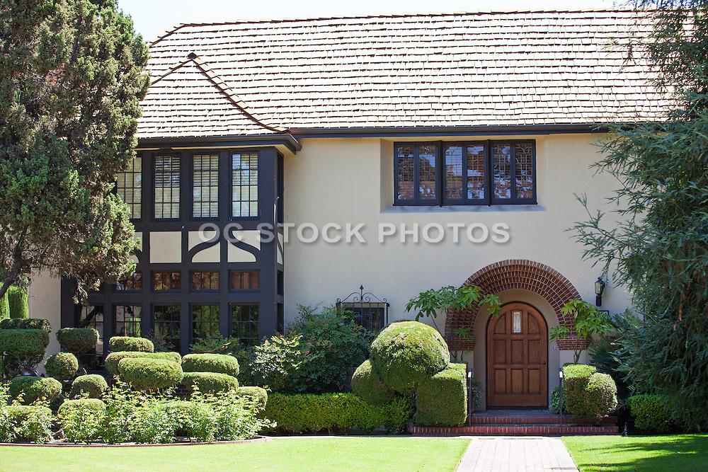 Stock Photo of an English Tudor Style Home in Floral Park of Santa Ana California