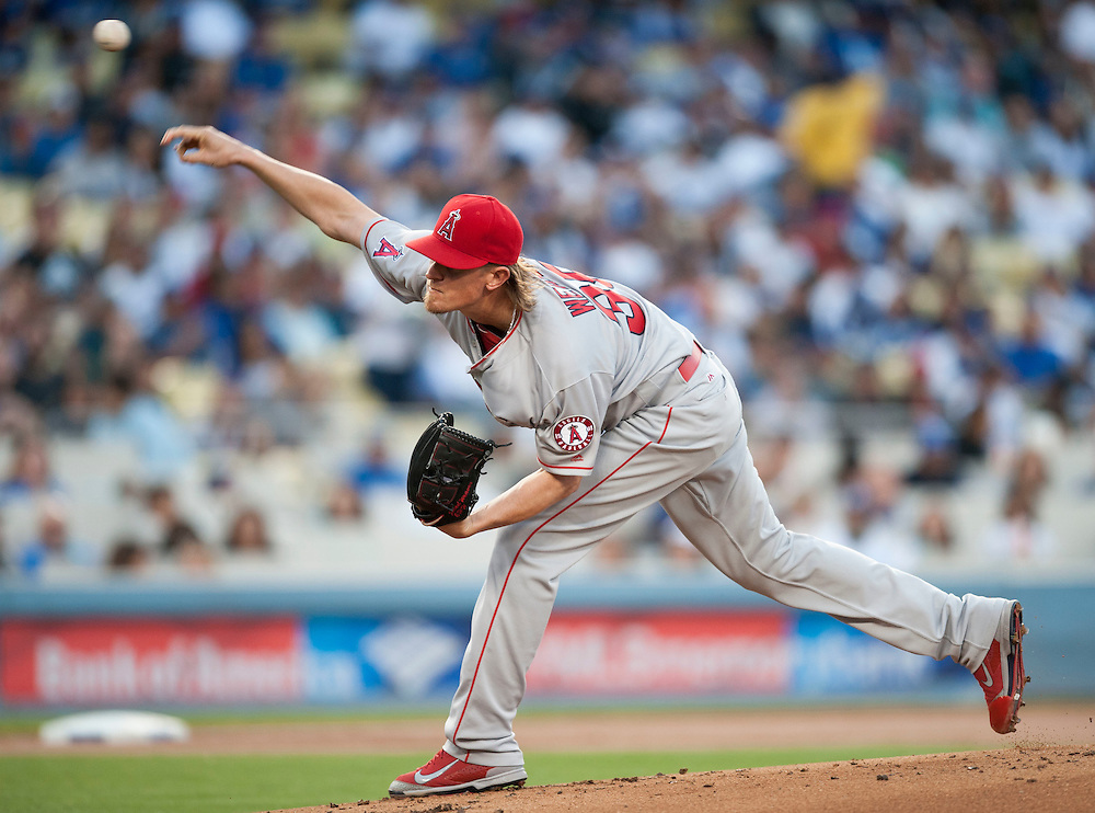 The Angels' Jered Weaver pitches during the Angles' 5-1 loss to the Dodgers Tuesday night at Dodger Stadium.<br /> <br /> / //ADDITIONAL INFO:   <br /> <br /> angels.0518.kjs  ---  Photo by KEVIN SULLIVAN / Orange County Register  -- 5/17/16<br /> <br /> The Los Angeles Angels take on the Los Angeles Dodgers in inter-league play at Dodger Stadium Tuesday night.