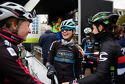 Eva Buurman catches up with old friends at Drentse 8 van Westerveld 2018 - a 142 km road race on March 9, 2018, in Dwingeloo, Netherlands. (Photo by Sean Robinson/Velofocus.com)