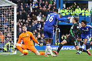 Ruben Loftus-Cheek of Chelsea takes a shot at goal but sees it saved by Goalkeeper Jack Butland of Stoke City.. Barclays Premier league match, Chelsea v Stoke city at Stamford Bridge in London on Saturday 5th March 2016.<br /> pic by John Patrick Fletcher, Andrew Orchard sports photography.