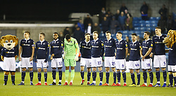 February 12, 2019 - London, England, United Kingdom - Millwall players standing in memory of Gordon Banks.during Sky Bet Championship match between Millwall and Sheffield Wednesday at The Den Ground, London on 12 Feb 2019. (Credit Image: © Action Foto Sport/NurPhoto via ZUMA Press)