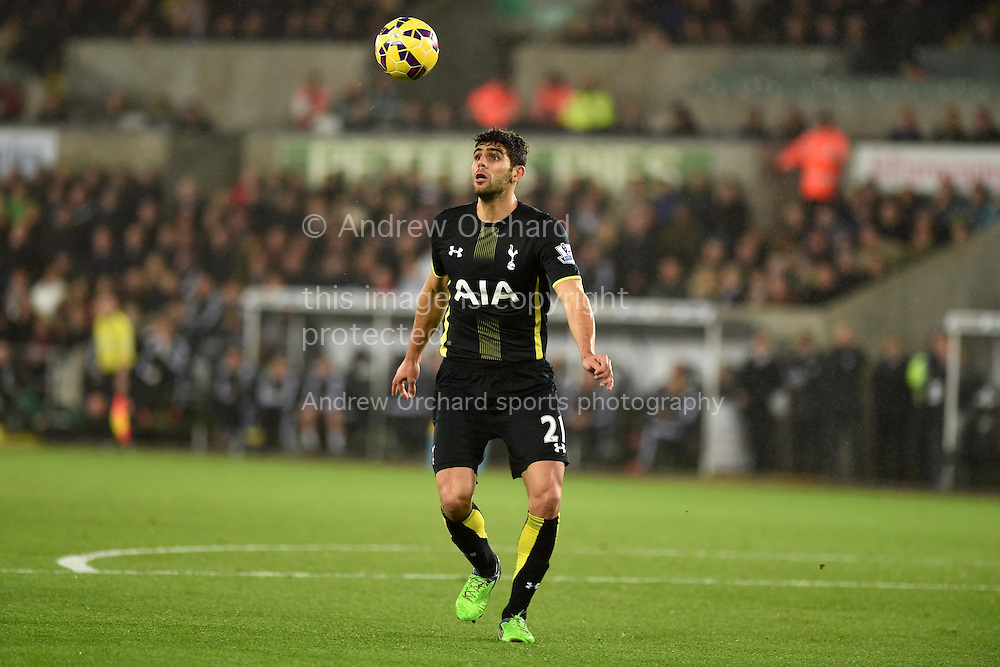 Federico Fazio of Tottenham in action.Barclays Premier League match, Swansea city v Tottenham Hotspur at the Liberty Stadium in Swansea, South Wales on Sunday 14th December 2014<br /> pic by Andrew Orchard, Andrew Orchard sports photography.