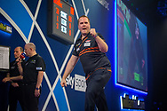 Dirk van Duijvenbode (Netherlands) reacts during the William Hill World Darts Championship at Alexandra Palace, London, United Kingdom on 28 December 2020.