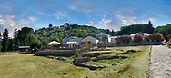 Exterior panoramic of the Villa Romana del Casale, showing the protective roofs that have been erected to represent the original villas building heights,  first quarter of the 4th century AD. Sicily, Italy. A UNESCO World Heritage Site.
