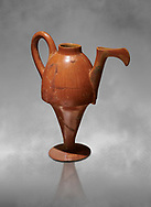 Terra cotta Hittite beaker shaped side spouted pitcher - 1700 BC to 1500BC - Kültepe Kanesh - Museum of Anatolian Civilisations, Ankara, Turkey .<br /> <br /> If you prefer to buy from our ALAMY STOCK LIBRARY page at https://www.alamy.com/portfolio/paul-williams-funkystock/hittite-art-antiquities.html  - Type Kultepe into the LOWER SEARCH WITHIN GALLERY box. Refine search by adding background colour, place, museum etc<br /> <br /> Visit our HITTITE PHOTO COLLECTIONS for more photos to download or buy as wall art prints https://funkystock.photoshelter.com/gallery-collection/The-Hittites-Art-Artefacts-Antiquities-Historic-Sites-Pictures-Images-of/C0000NUBSMhSc3Oo
