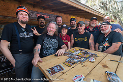 Guest magazine editor judges for the Harley-Davidson Editors Choice bike show at the Broken Spoke Saloon. (Yours truly Michael Lichter missing from the photo while behind the camera!) Daytona Bike Week 75th Anniversary event. FL, USA. Wednesday March 9, 2016.  Photography ©2016 Michael Lichter.