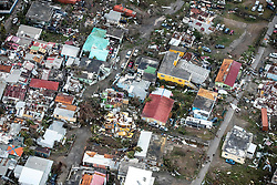 September 6, 2017 - Philipsburg, St Maarten - An aerial photograph provided by the Dutch Ministry of Defense shows the damage of Hurricane Irma on the Caribbean island of St. Maarten. Massive destruction of the historic district on the Dutch island of St Maarten in the wake of a direct hit by Hurricane Irma, a Category 5 storm lashing the Caribbean September 6, 2017 in Philipsburg, St. Maarten. Imra is packing winds of 185-mph making it the strongest hurricane ever recorded in the Atlantic Ocean. (Credit Image: © Gerben Van Es/Dutch Ministry of Defense /Planet Pix via ZUMA Wire)