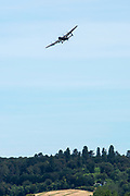 """Henley on Thames, United Kingdom, 24th June 2018, Sunday, """"Henley Women's Regatta"""", view, """"Fly Past"""", Avro Lancaster, of the """"RAF's Battle of Britain Memorial Flight"""", Henley Reach, River Thames, Thames Valley, England, © Peter SPURRIER,  24/06/2018"""