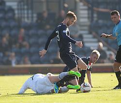 Raith Rovers Joe Cardle and Falkirk's Rory Loy.<br /> Raith Rovers 1 v 1 Falkirk, Scottish Championship 28/9/2013.<br /> ©Michael Schofield.