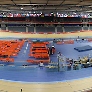 A panoramic view of The Olympic Park Velodrome, Stratford prepared for the London 2012 Olympic games. London, UK. 19th July 2012. Photo Tim Clayton.Note to Editors. This image is a composite of two images taken a split second apart and merged in editing.