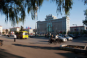 Street scene in De Hui city, Jilin Province. North Eastern China. The Town Hall and Main Square