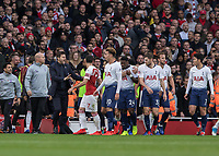 Football - 2018 / 2019 Premier League - Arsenal vs. Tottenham Hotspur<br /> <br /> Mauricio Pochettino, Manager of Tottenham FC, appeals for calm amongst his players at The Emirates.<br /> <br /> COLORSPORT/DANIEL BEARHAM