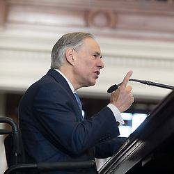 Austin, Texas January 10, 2016   Opening Day of the 85th Texas House. <br /> <br /> Gov. Greg Abbott speaks to the House