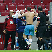 Trabzonspor's Burak YILMAZ (F) celebrate his goal during their Turkish superleague soccer derby match Galatasaray between Trabzonspor at the TT Arena in Istanbul Turkey on Sunday, 10 April 2011. Photo by TURKPIX
