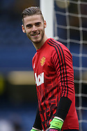 David De Gea of Manchester United laughing during pre match warm up. Barclays Premier league match, Chelsea v Manchester Utd at Stamford Bridge in London on Sunday 7th February 2016.<br /> pic by John Patrick Fletcher, Andrew Orchard sports photography.