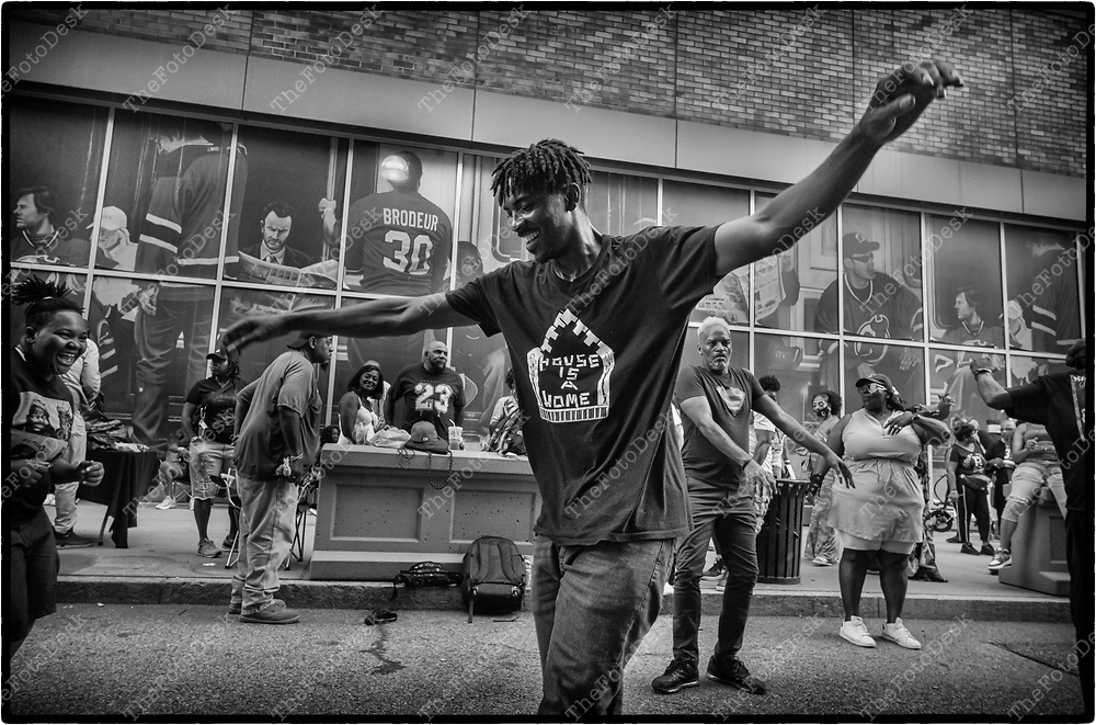 NEWARK, NEW JERSEY:  House Music folks are shown on Edison Plaice in Newark, NJ on Friday, July 9, 202 (Brian B Price/TheFotodesk).