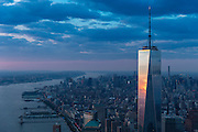 Aerial View of One World Trade Center at sunset, photographed from a helicopter.