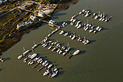 Aerial view of the Sunset Cay Marina on Folly Beach, South Carolina known locally as the Edge of America.