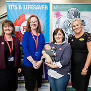04.10. 2017.                   <br /> HEALTHCARE staff across the MidWest are taking part in a major vaccination programme to protect patients from flu this winter.<br />  <br /> UL Hospitals Group and HSE Mid West Community Healthcare this Wednesday joined forces to launch a flu campaign aimed at vaccinating thousands of healthcare workers in community, primary, mental health and acute hospital settings across Limerick, Clare and Tipperary. A national target of 40% uptake rate has been set by the HSE.<br /> <br /> Pictured at the launch were, Margaret Quigley, Director Midwifery UL Hospitals Group, Laura Tobin, Healthy Ireland Project Leader UL Hospitals Group, Aine Murray, Dooradoyle with her baby son Cuan, 11 weeks and University Hospitals Group CEO Colette Cowan.<br />  <br /> The HSE will next Monday, October 9th, launch its national flu campaign, with at-risk groups – including the over-65s; people with long-term chronic illnesses; pregnant women and residents of nursing homes and other longstay facilities – encouraged to get the vaccine from their family doctor or pharmacist. Picture: Alan Place