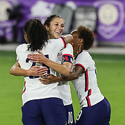 ORLANDO, FL - JANUARY 22:  Margaret Purce #23 of United States celebrates her goal with Carli Lloyd #10 and Crystal Dunn #19 of United States at Exploria Stadium on January 22, 2021 in Orlando, Florida. (Photo by Alex Menendez/Getty Images) *** Local Caption *** Margaret Purce; Carli Lloyd; Crystal Dunn