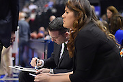 April 4, 2016; Indianapolis, Ind.; Head coach Ryan McCarthy makes final preparations before the NCAA Division II Women's Basketball National Championship game at Bankers Life Fieldhouse between UAA and Lubbock Christian. The Seawolves lost to the Lady Chaps 78-73.