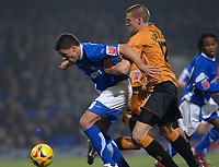 Photo: Ashley Pickering.<br /> Ipswich Town v Wolverhampton Wanderers. Coca Cola Championship. 20/02/2007.<br /> Jon Walters of Ipswich (L) holds off Rob Edwards of Wolves