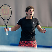 TOKYO, JAPAN - JULY 20: Carla Suarez Navarro of Spain reacts while practicing at Ariake Tennis Park in preparation for the Tokyo 2020 Olympic Games on July 20, 2021 in Tokyo, Japan. (Photo by Tim Clayton/Corbis via Getty Images)