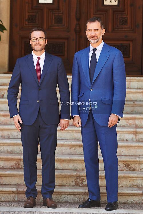 King Felipe VI of Spain receives Jose Francisco Hila Vargas, Mayor of Palma de Mallorca at Marivent Palace on July 31, 2015 in Palma de Mallorca, Spain.