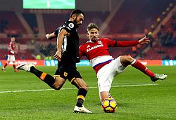 Gaston Ramirez of Middlesbrough tackles Ahmed Elmohamady of Hull City - Mandatory by-line: Robbie Stephenson/JMP - 05/12/2016 - FOOTBALL - Riverside Stadium - Middlesbrough, England - Middlesbrough v Hull City - Premier League