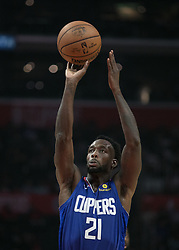 October 19, 2018 - Los Angeles, California, U.S - Patrick Beverley #21 of the Los Angeles Clippers takes a shot during their NBA game with the Oklahoma Thunder on Friday October 19, 2018 at the Staples Center in Los Angeles, California. Clippers defeat Thunder, 108-92. (Credit Image: © Prensa Internacional via ZUMA Wire)