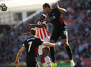 Liverpool's Joel Matip wins a header .Premier league match, Stoke City v Liverpool at the Bet365 Stadium in Stoke on Trent, Staffs on Saturday 8th April 2017.<br /> pic by Bradley Collyer, Andrew Orchard sports photography.