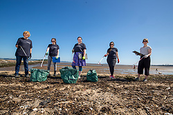 15JUL21 Lesley Anderson, Lin cooper, Catherine Gemmell, Hannah Lee and Kirsty Crawford. The Marine Conservation Society launching it's big beach clean up volunteer call at Cramond beach this morning.
