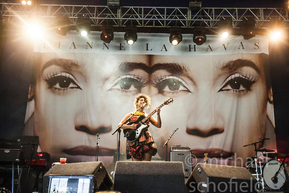 """Lianne La Havas plays the Goldenvoice Arena. Sunday, Rockness 2013, the annual music festival which took place in Scotland at Clune Farm, Dores, on the banks of Loch Ness, near Inverness in the Scottish Highlands. The festival is known as """"the most beautiful festival in the world""""."""