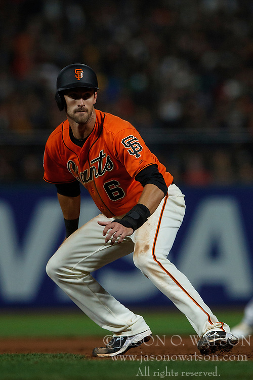 SAN FRANCISCO, CA - JULY 13: Steven Duggar #6 of the San Francisco Giants leads off first base against the Oakland Athletics during the sixth inning at AT&T Park on July 13, 2018 in San Francisco, California. The San Francisco Giants defeated the Oakland Athletics 7-1. (Photo by Jason O. Watson/Getty Images) *** Local Caption *** Steven Duggar