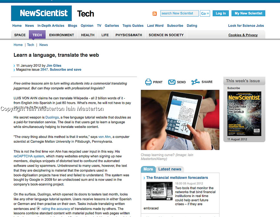 New Scientist; Woman learning Chinese on iPad