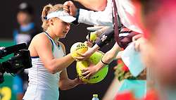 May 7, 2019 - Madrid, MADRID, SPAIN - Kateryna Kozlova of the Ukraine signs autographs after winning her second-round match at the 2019 Mutua Madrid Open WTA Premier Mandatory tennis tournament (Credit Image: © AFP7 via ZUMA Wire)