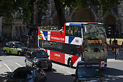 A tour bus with The Original Tour drives through Parliament Square, on 7th July 2017, in central London.