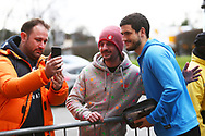 Bradford City defender Anthony O'Connor (6) arrives at the Stadium and poses for pictures with fans during the EFL Sky Bet League 1 match between Burton Albion and Bradford City at the Pirelli Stadium, Burton upon Trent, England on 26 January 2019.