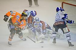 05.10.2012, Eisstadion Liebenau, Graz, AUT, EBEL, Graz 99ers vs KHL Medvescak Zagreb, 9. Runde, im Bild Martin Oraze, (99ers, #81), Michael Ouzas, (Zagreb,  #40) // during the Erste Bank Icehockey League 9th Round match betweeen Graz 99ers and KHL Medvescak Zagreb at the Icehockey Stadium Liebenau, Graz, Austria on 2012/10/05. EXPA Pictures © 2012, PhotoCredit: EXPA/ S. Zangrando