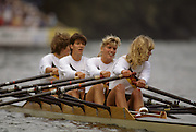 Bled, Slovenia, YUGOSLAVIA.  DDR/RDA. W4X. .Bow Kathrin BORON, Sybille SCHMIDT, BEHRENDT - HAMPE and  Jana THIEME. 1989 World Rowing Championships, Lake Bled. [Mandatory Credit. Peter Spurrier/Intersport Images]
