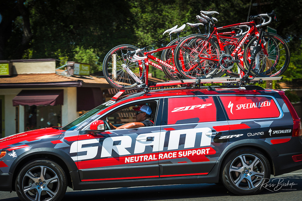 Race support car at the Amgen Tour of California bicycle race, Ojai, California USA