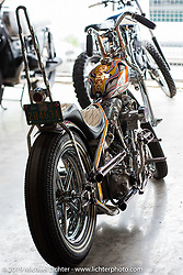 Atomic Trent Schara's Harley-Davidson Shovelhead during set-up day at the Handbuilt Motorcycle Show. Austin, TX. April 9, 2015.  Photography ©2015 Michael Lichter.