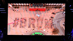 A live performance from Victoria Square in Birmingham is shown on the big screen during the Closing Ceremony for the 2018 Commonwealth Games at the Carrara Stadium in the Gold Coast, Australia.