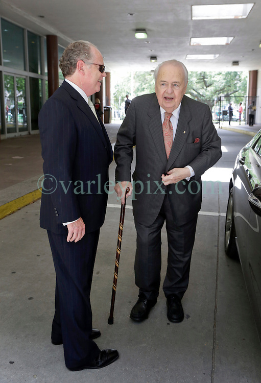 11 June  2015. New Orleans, Louisiana. <br /> Tom Benson (with cane), billionaire owner of the NFL New Orleans Saints, the NBA New Orleans Pelicans, various auto dealerships, banks, property assets and a slew of business interests arrives at New Orleans Civil District Court where he is attending a hearing to determine Benson's level of competency to manage his business empire. Benson changed his succession plans and  decided to leave the bulk of his estate to third wife Gayle, sparking a controversial fight over control of the Benson business empire.<br /> Photo©; Charlie Varley/varleypix.com