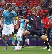 Men's Olympic Football match Spain v Japan on 26.7.12...Jordi Alba of Spain and Hiroki Sakai of Japan, during the Spain v Japan Men's Olympic Football match at Hampden Park, Glasgow...Picture John Millar / ProLens PhotoAgency / PLPA.Thursday 26th July 2012.....................